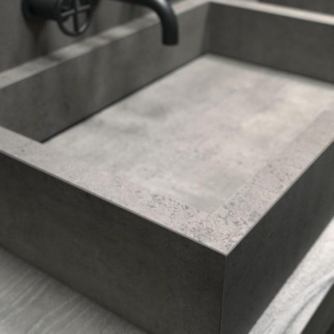 lavabo bagno da appoggio effetto cemento