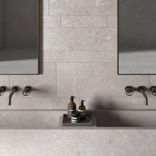 Lavabo bagno di design effetto pietra bianca