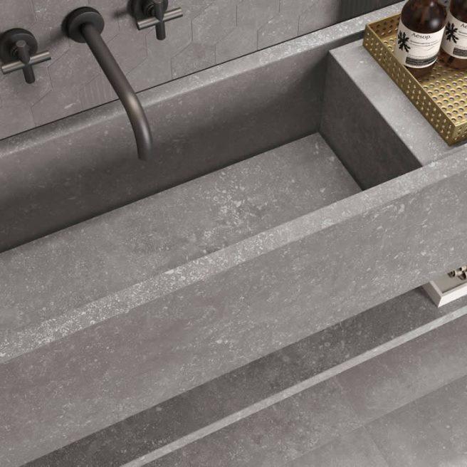 lavabo bagno su misura effetto pietra