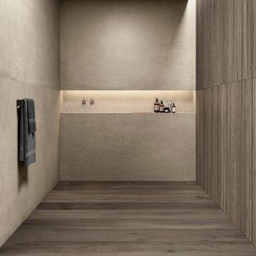 piatto doccia filo pavimento effetto legno