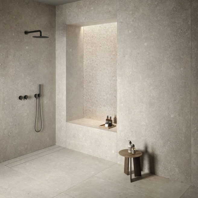piatto doccia in gres porcellanato effetto pietra
