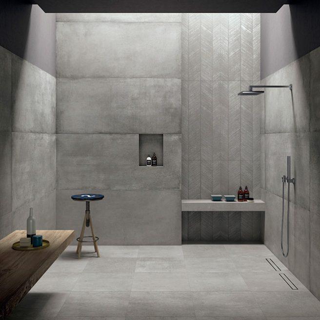 piatto doccia filo pavimento cemento