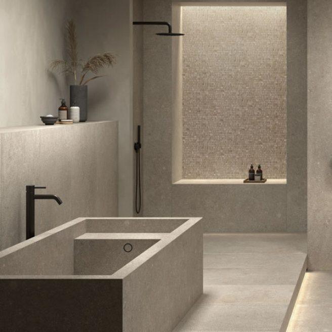 vasca da bagno moderna effetto pietra